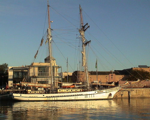 Photo of the tall ship One and All moored in Port Adelaide