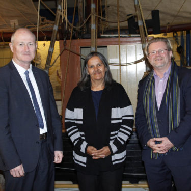 SA Maritime Museum Director, Kevin Jones with Aunty Ellen, and CEO of the History Trust of South Australia, Greg Mackie
